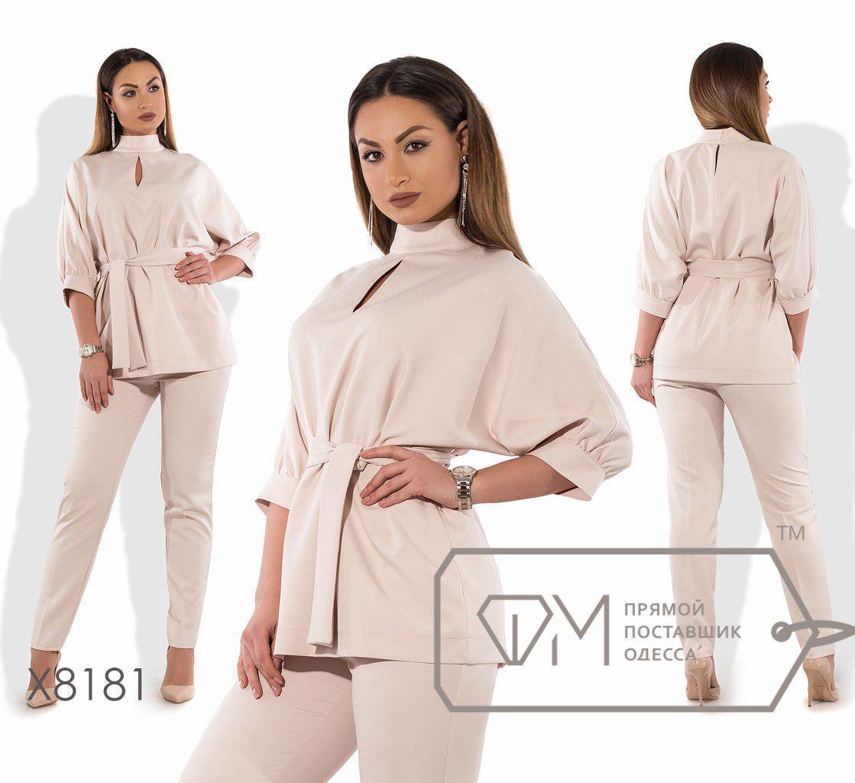 Женский брючный костюм большого размера с удлиненной блузой fmx8181