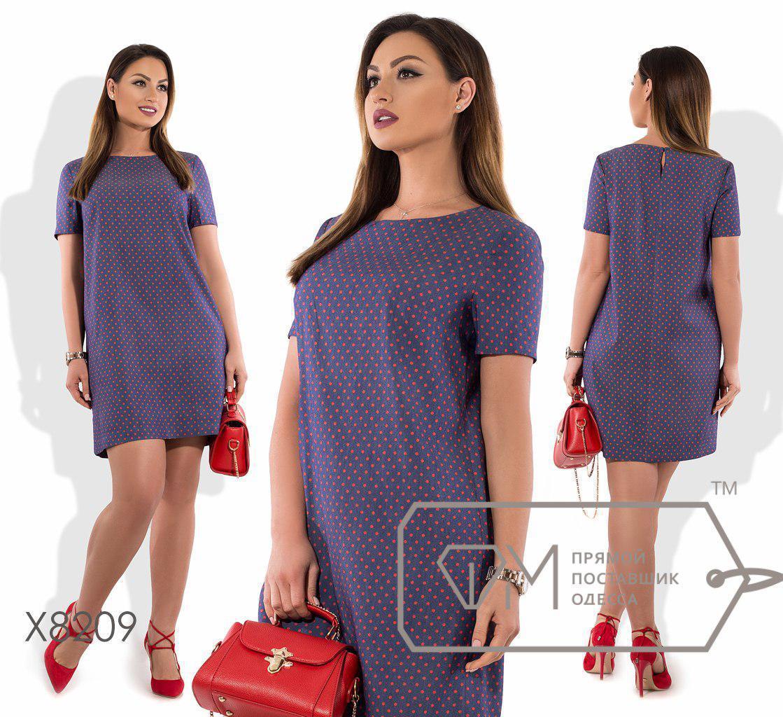 Прямое коттоновое платье в горошек в больших размерах fmx8209