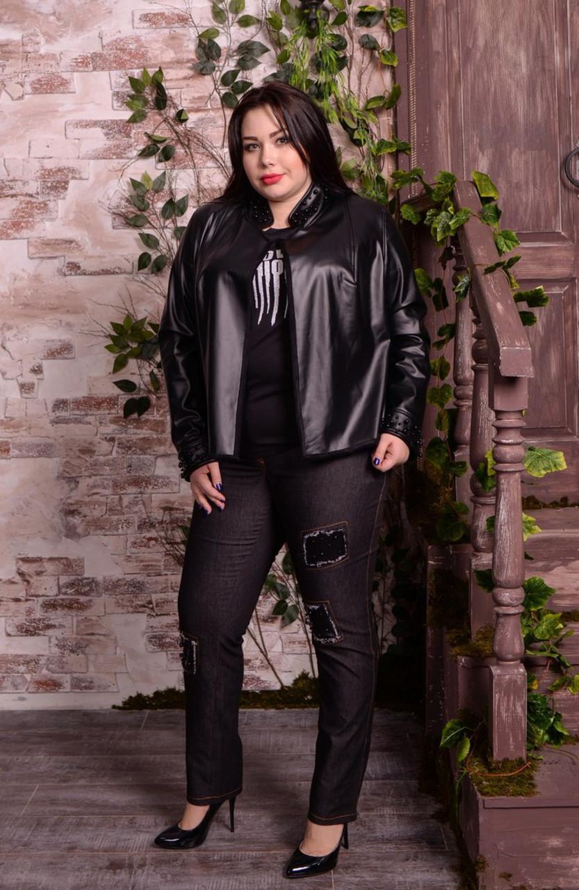 Короткая женская кожаная куртка в больших размерах 10uk601