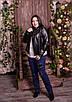 Короткая женская кожаная куртка в больших размерах 10uk601, фото 4