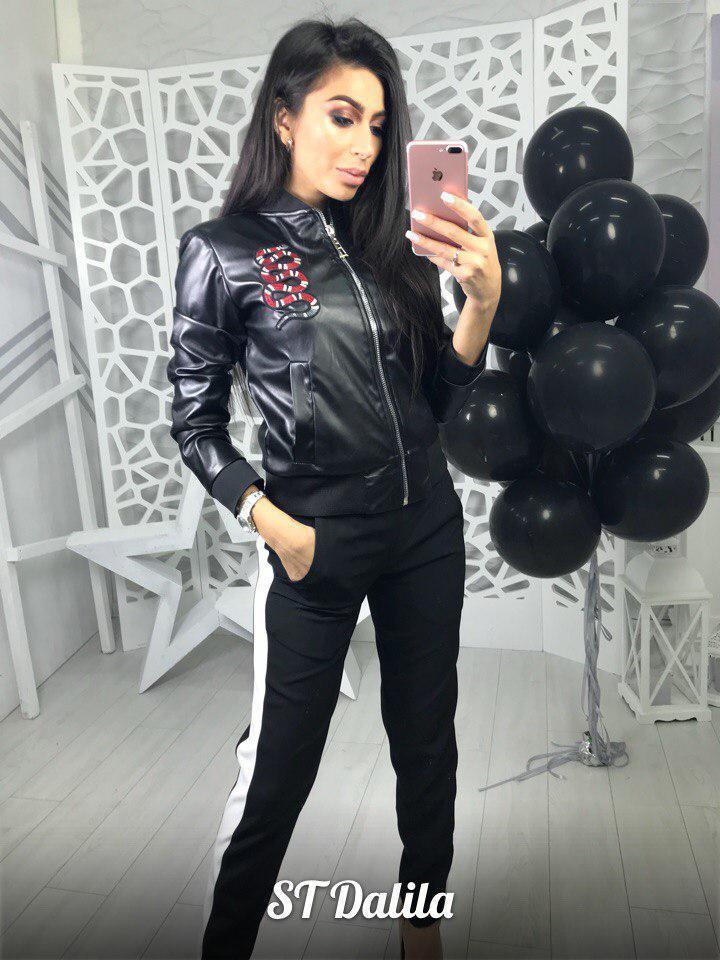 Женская кожаная куртка ветровка с довязами 16ki88