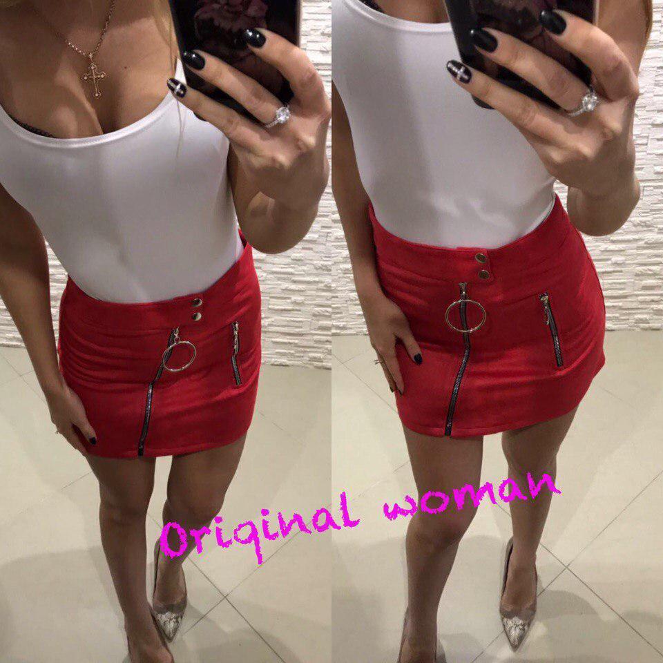 Замшевая женская юбка с молниями 2wa74