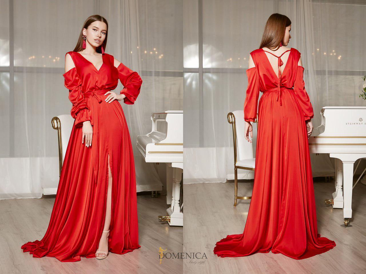 43d8d242737 Шелковое длинное платье с вырезом на спине и открытыми плечами 31ty1229 -  Cardy интернет магазин одежды