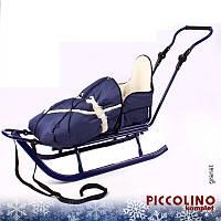 Санки+ручка+конверт Adbor Piccolino синие