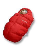 """Пуховый конверт для новорожденных  """"Baby Born"""" Ontario Linen Зима (-5°С до -30°С) МЕХ Красный+овчина"""
