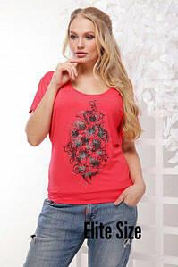 Женская футболка в больших размерах с рисунком 6uk718