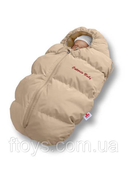 """Пуховый конверт для новорожденных  """"Baby Born"""" Ontario Linen Зима+Деми (+10°С до -20°С) Флис Бежевый"""
