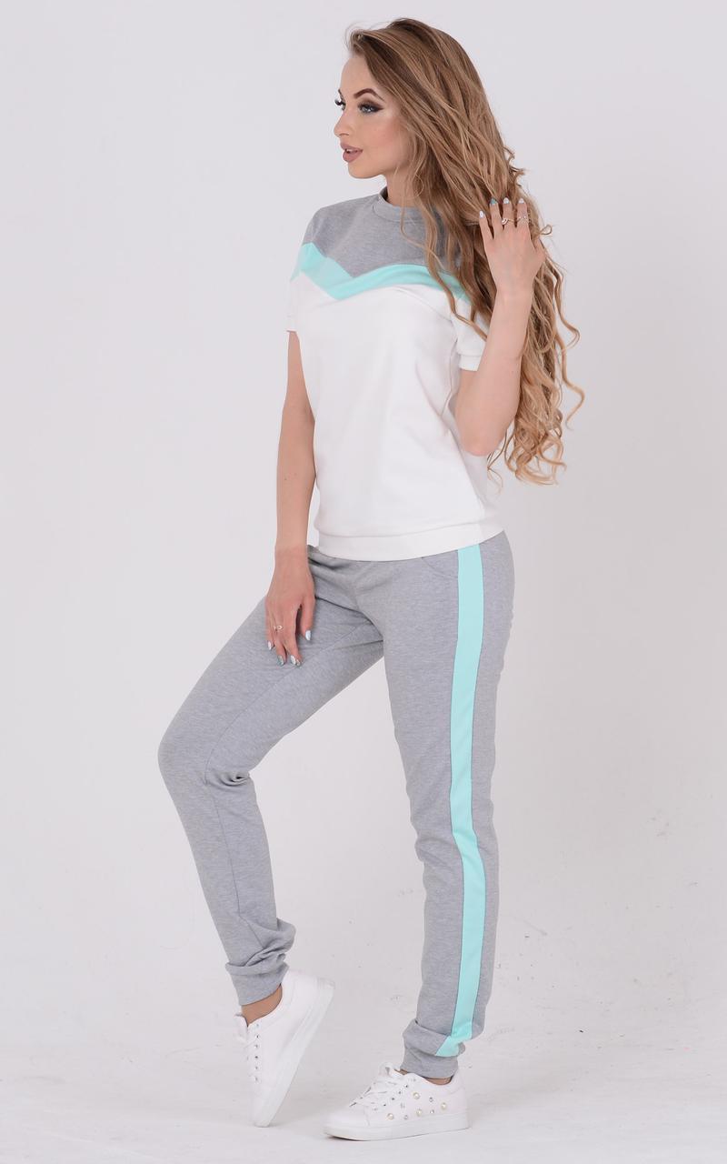 Летний женский спортивный костюм с футболкой 45rt349