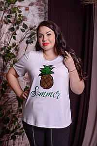 Женская футболка из вискозы в больших размерах 10uk770