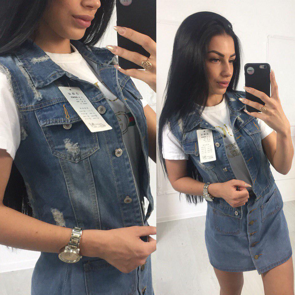 Женская джинсовая жилетка на пуговицах 40ti20