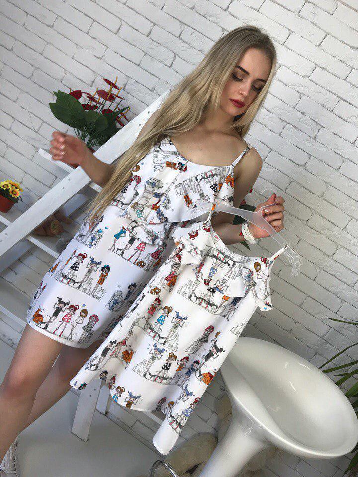 Одежда мама и дочка принтованное летнее платье 51qr03