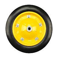 Колесо BudMonster литое 3,25х8 из дод.креплением на диске (артикул 01-030/1) желтое о/d=16