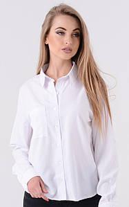 Женская белая классическая рубашка прямого кроя 45rz165