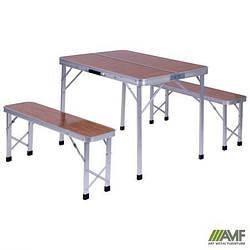 Комплект складной Дует (Стол+2 Лавки) WZZ007A/Y5 алюм/МДФ