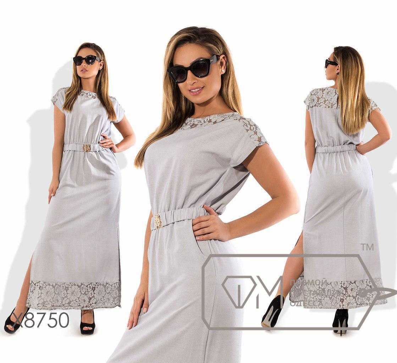 Длинное льняное платье больших размеров с гипюром fmx8749