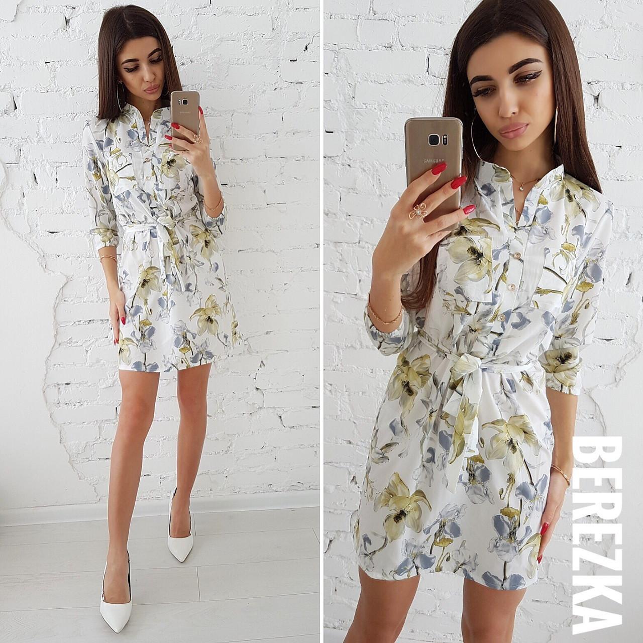 Платье-рубашка на лето с принтом 66ty1619