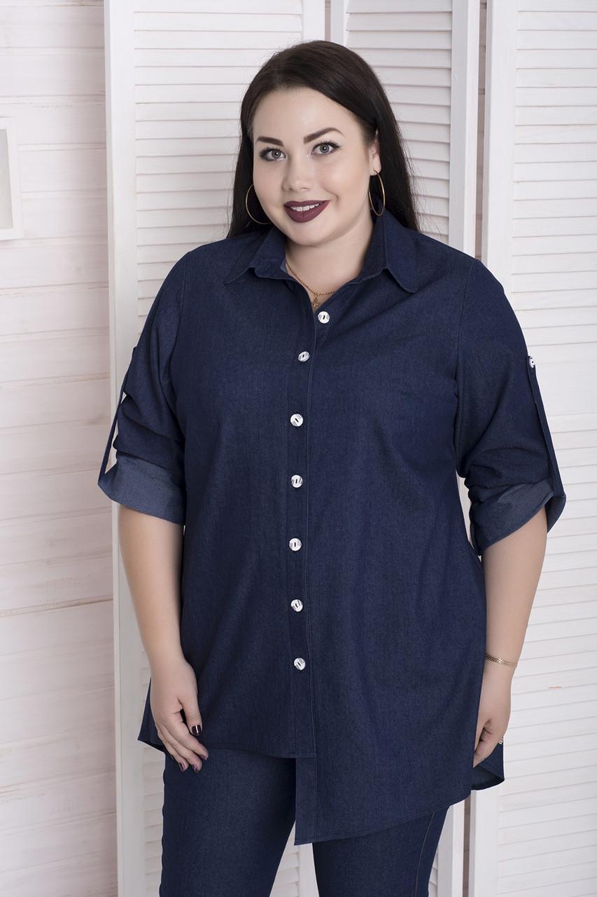 Женская рубашка в больших размерах с асимметричным кроем 10uk860