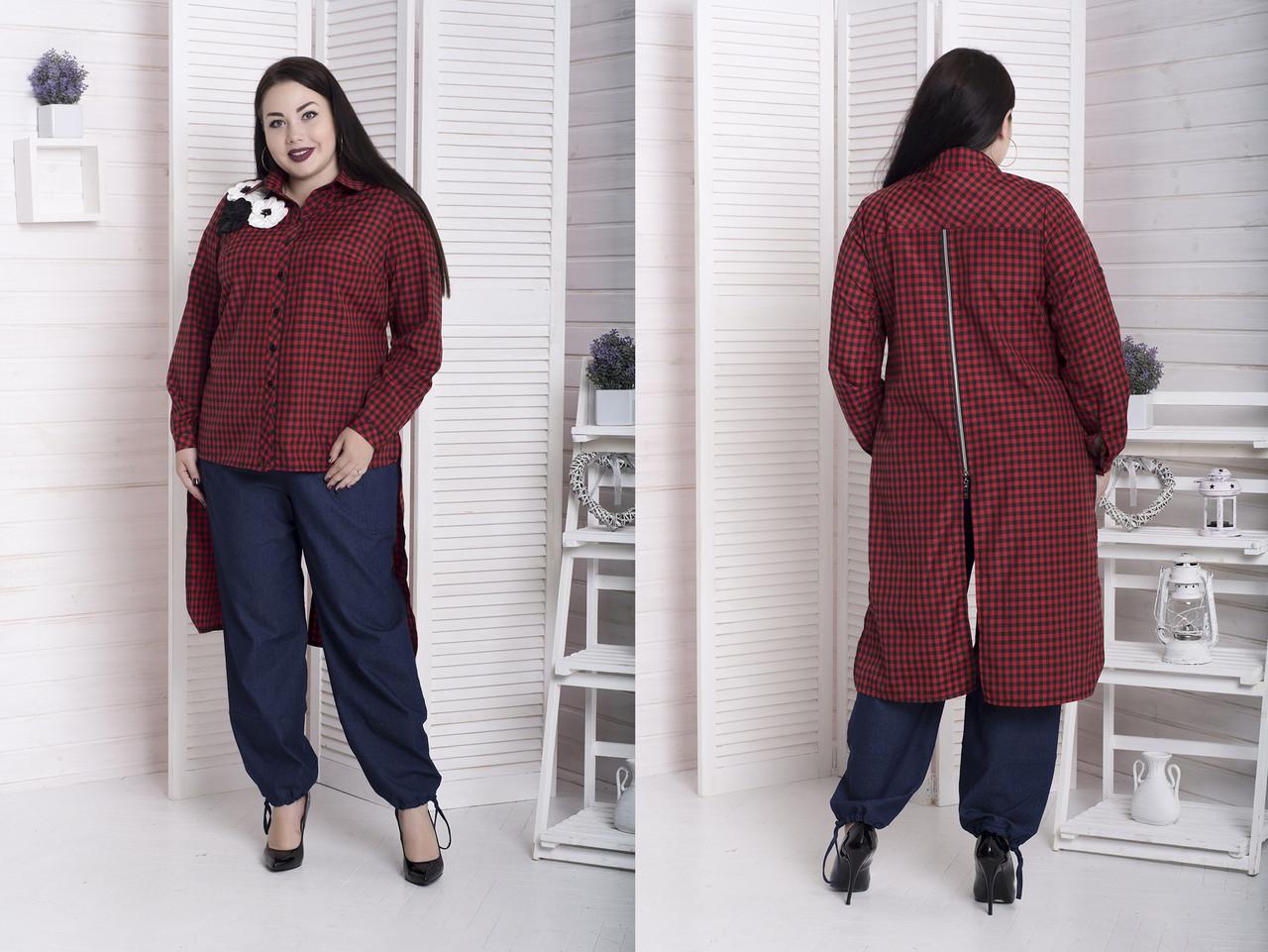 Женская рубашка большого размера удлиненная сзади 10uk867