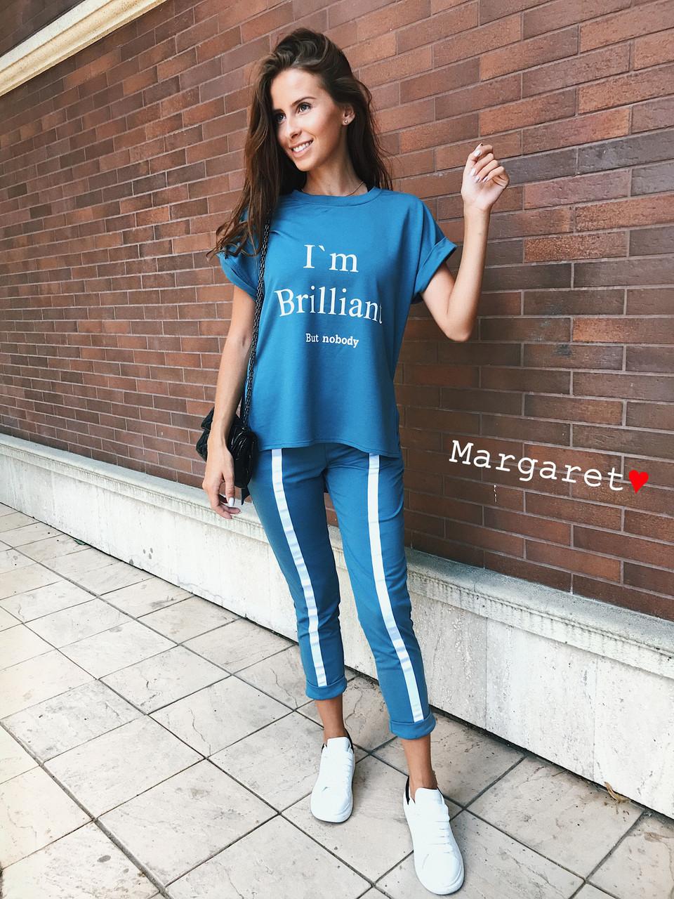 Женский летний спортивный костюм со свободной футболкой 9rt385