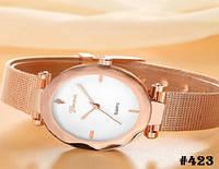 Женские кварцевые наручные часы / годинник Geneva цвета розового золота с металическим браслетом (423)