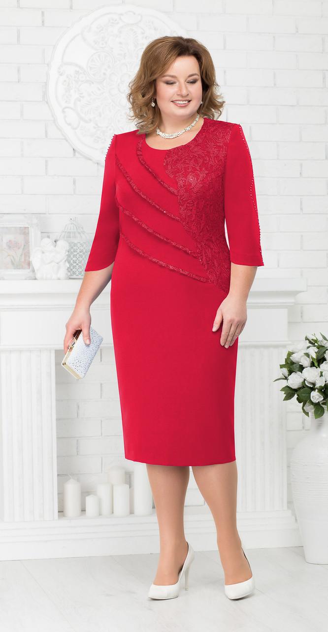 Платье Ninele-3181/1 белорусский трикотаж, красный, 54