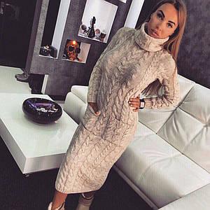 Вязаное длинное платье с высокой горловиной 18ty1834