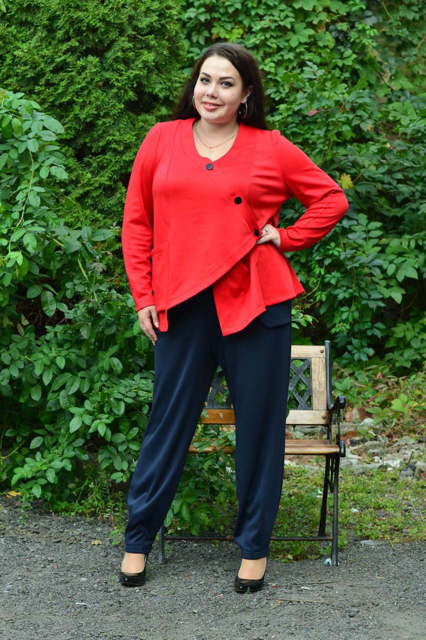 Женский брючный костюм с жакетом в больших размерах 10uk984