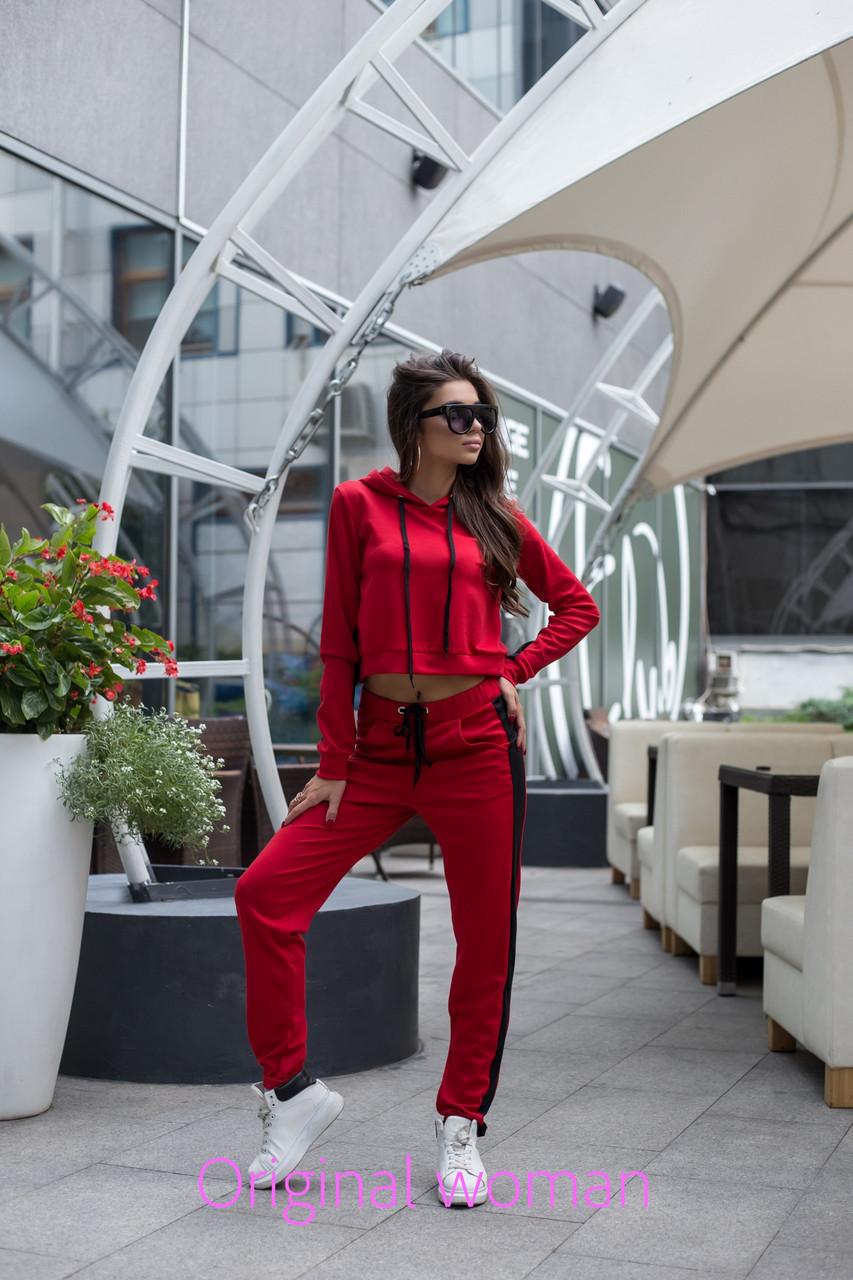 Трикотажный женский спортивный костюм с укороченный топом 2rt482