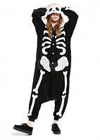 Кигуруми пижама скелет черно-белый k0052