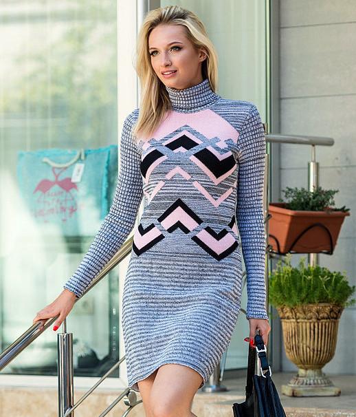 14504b22e5eaad3 Зимнее молодежное теплое вязаное платье, цвет серый меланж-розовый-черный,  р.
