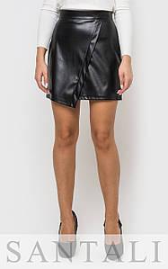 Асимметричная кожаная юбка черная 45wa139