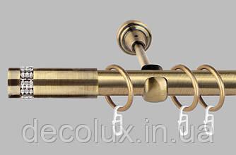 Карниз для штор однорядный металлический 19 мм, Хантос  (комплект) Антик