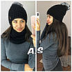 Женская шапка и снуд из структурной вязки 52sl148, фото 7