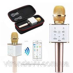 Микрофон-караоке bluetooth Q7 в чехле(золотой)