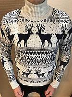 Вязанный новогодний гольф с оленями (разные цвета) - зима 2019