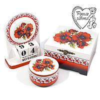 Набір Маки український стиль шкатулка кругла, велика скринька, календар