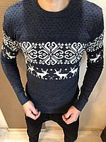 Мужской стильный вязанный свитер с оленями (разные цвета) - зима 2019