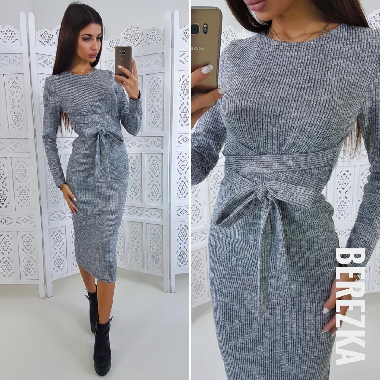 Облегающее платье миди из рубчика с поясом 66ty2025