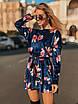 Принтованное велюровое платье с пышной юбкой 50ty2034, фото 3