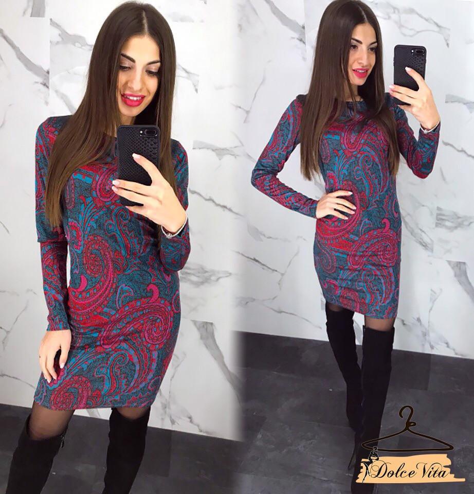 Трикотажное принтованное платье с узором 22ty2038