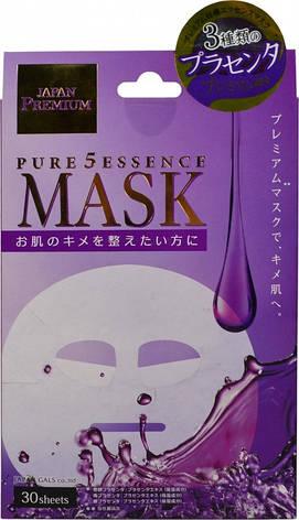 Маски для лица JAPAN GALS Pure5 Essence Premium c тремя видами плаценты 30 шт (010027), фото 2