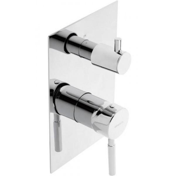 Смеситель скрытого монтажа ванна/душ с переключателем на 3 зоны Genebre Tau 3way 65118 18 45 66 хром