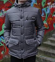 Мужская Зимняя куртка парка удлинённая с капюшоном (серая)