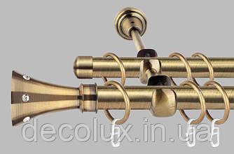Карниз для штор двухрядный металлический 19 мм, Картер Антик (комплект)