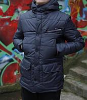 Мужская Зимняя куртка парка удлинённая с капюшоном (синяя)
