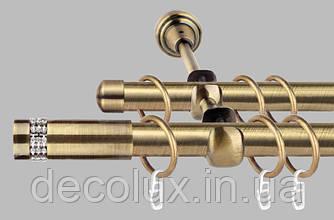 Карниз для штор двухрядный металлический 19 мм, Хантос  (комплект) Антик