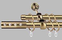 Карниз для штор двухрядный металлический 19 мм, Алюр  (комплект)