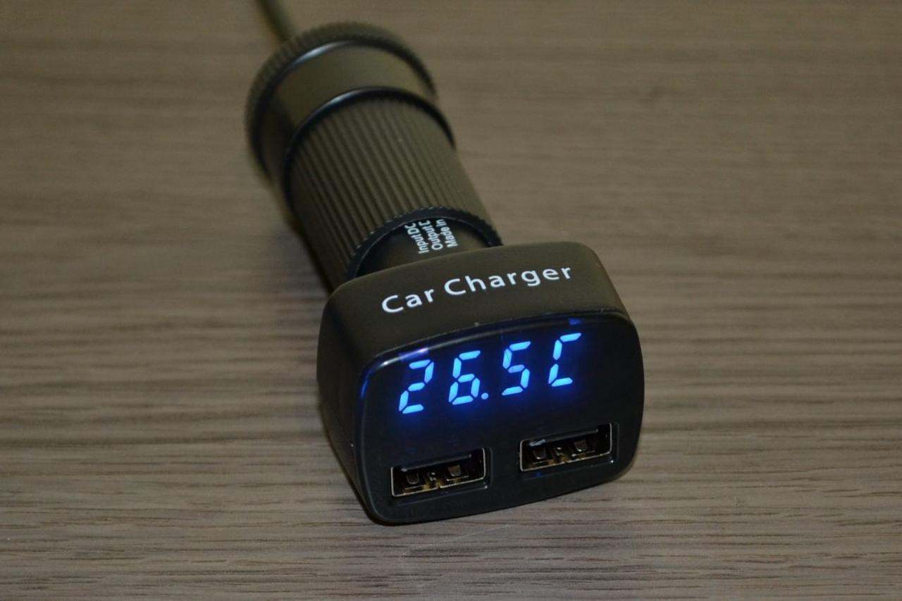 4 в 1 Цифровой авто термометр с вольтметром на 2 Usb порта
