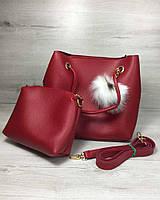 Красная сумка с клатчем 55022 мягкая с длинными ручками, фото 1