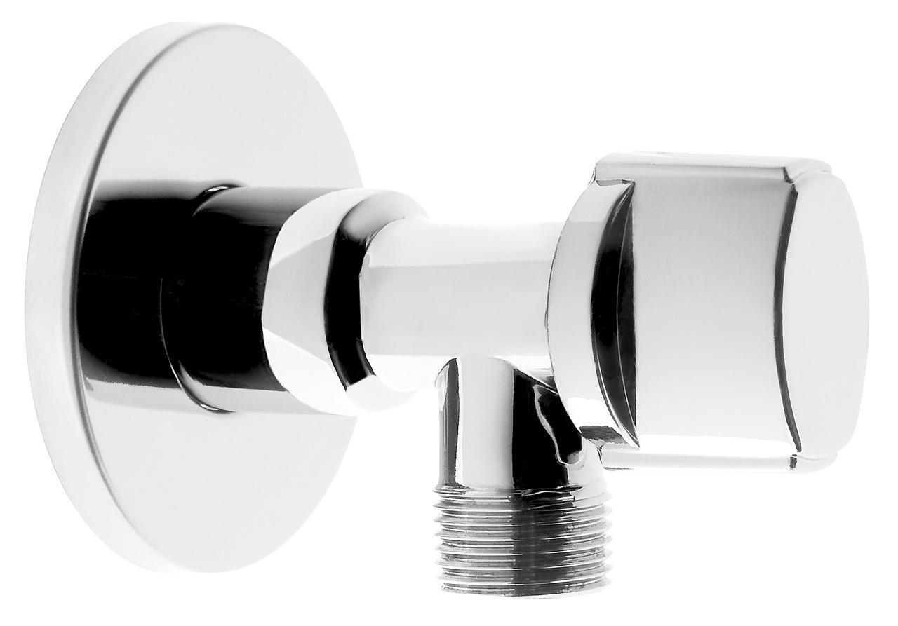 Угловой кран с металлической ручкой 1/2x1/2 Ferro Z1212K хром